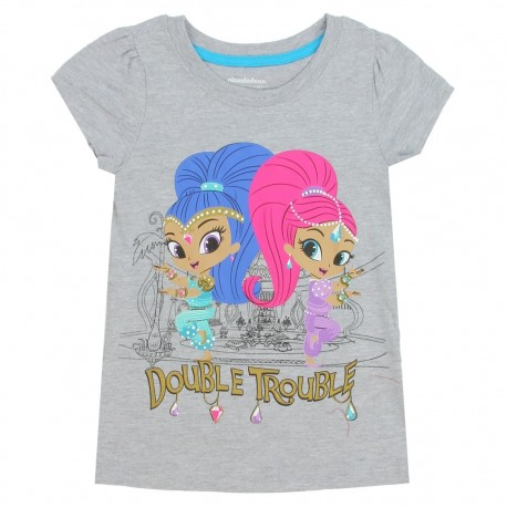 Nick Jr Shimmer And Shine Double Trouble Grey Girls Short Sleeve Shirt At Houston Kids Fashion Clothing Store