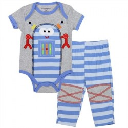 Buster Brown Blue Robot On Grey Onesie With Blue Striped Onesie With Knee Patches At Houston Kids Fashion Clothing