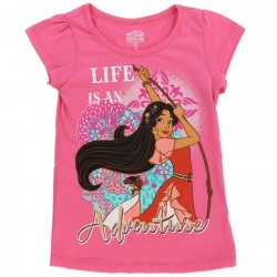 Disney Princess Elana Life Is An Adventure Pink Short Sleeve Girls Shirt