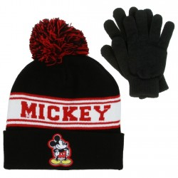 Disney Mickey Mouse Black Winter Hat And Mittens Set