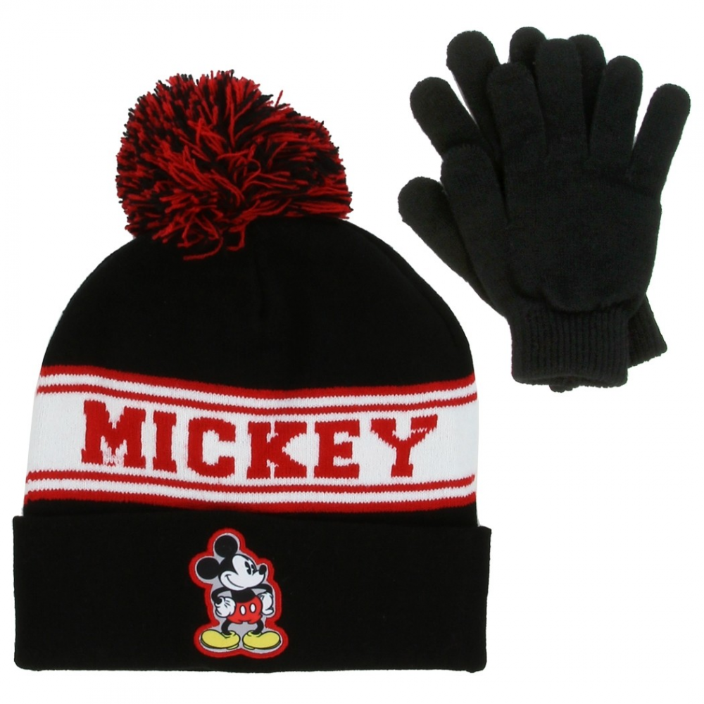Disney Mickey Mouse Black Winter Hat And Mittens Set Houston Kids Fashion  Clothing. Loading zoom 632a56230f1