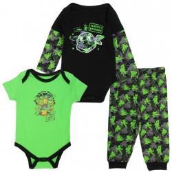 Nick Jr Teenage Mutant Ninja Turtles Black And Green 3 Piece Layette Set