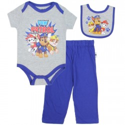 Nick Jr Paw Patrol Chase Marshall and Rubble Grey and Blue 3 Piece Set At Houston Kids Fashion Clothing Store
