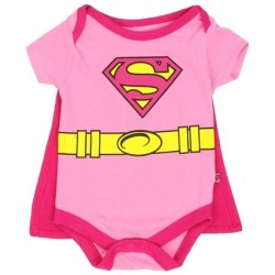 DC Comics Supergirl Pink Baby Onesie With Detachable Cape