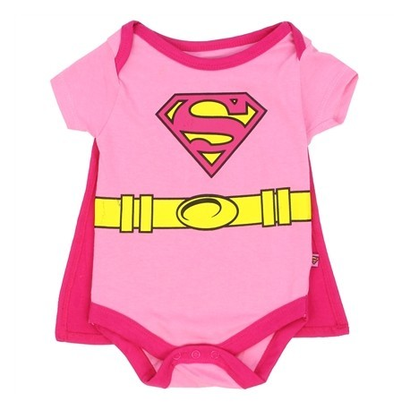 DC Comics Supergirl Pink Baby Onesie With Detachable Cape At Houston Kids Fashion Clothing