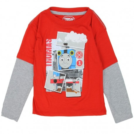 Thomas And Friends Red And GreyLong Sleeve Toddler Boys Shirt At Houston Kids Fashion Clothing