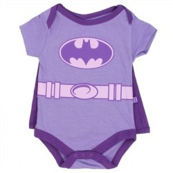 DC Comics Batgirl Purple Baby Onesie With Detachable Cape