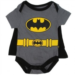 DC Comics Batman GRey Onesie With Detachable Cape At Houston Kids Fashion Clothing Baby Clothes