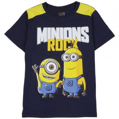 Despicable Me Minions Rock Navy Blue Short Sleve T Shirt At Houston Kids Fashion Clothing Store