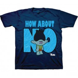 Dreamworks Trolls How About No Navy Blue Boys Short Sleeve Shirt