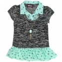 RMLA Black Holiday Knit Sweater With Mint Green Chiffon Trim And Necklace At Houston Kids Fashion Clothing