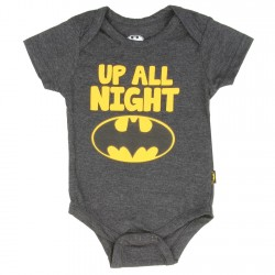DC Comics Batman Up All Night Heather Charcoal Infant Onesie