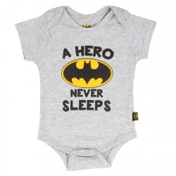 DC Comics Batman A Hero Never Sleeps Heather Grey Infant Onesie