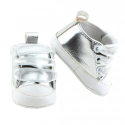 Little Beginnings Silver Baby Girls Crib Shoes