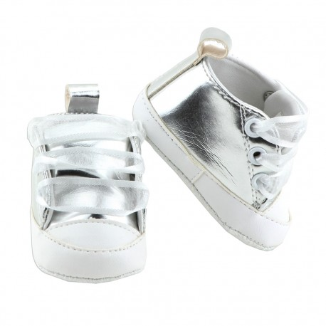 Little Beginnings Silver Baby Girls Crib Shoes At Houston Kids Fashion Clothing Baby Shoes