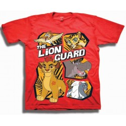 Disney Lion Guard Kion And Friends Red Short Sleeve Shirt