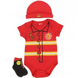 Nuby Red Fireman Onesie With Socks And Hat 3 Pc Layette Set