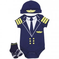 Nuby Blue Pilots Onesie With Socks And Hat 3 Pc Layette Set