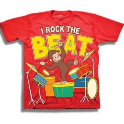 Curious George I Rock The Beat While Playing The Drums Red Short Sleeve Grphic T Shirt At Houston Kids Fashion Clothing