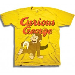 Curious George While Leaning On The Man's Hat Boys Yellow Toddler T Shirt