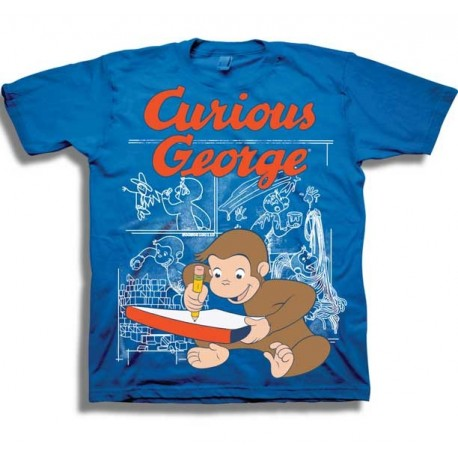 Curious George Making Some Mischief Toddler Blue Graphic T Shirt At Houston Kids Fashion Clothing Store