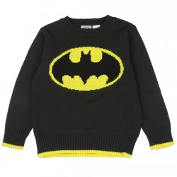 Black Warm Knit Sweater Feturing Yellow Bat Signal From DC Comics Batman Collection At Houston Kids Fashion Clothing