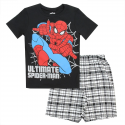 Ultimate Spider Man Black Short Sleeve Shirt and Plaid Shorts At Houston Kids Fashion Clothing Store