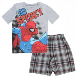Spider Man Go Spidey Grey Short Sleeve Shirt With Matching Plaid Shorts At Houston Kids Fashion Clothing Short Set