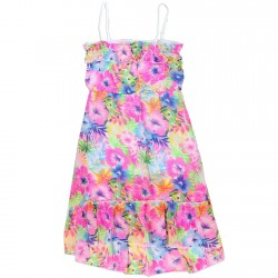 Kensie Blue And Pink Floral Summer Chiffon Dress