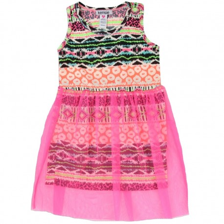 Kensie Sleeveless Dress With Multiple Colorful Stripes With Pink Lace at Houson Kids Fashion Clothing