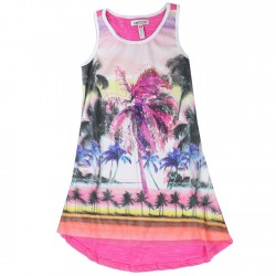 Kensie Hi Low Fuchsia Girls Summer Dress With Beach And Palm Trees