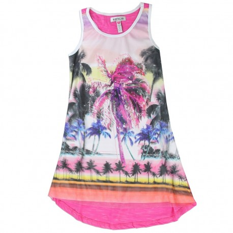 Kensie Hi Low Fuchsia Girls Summer Dress With Beach And Palm Trees Girls Clothes