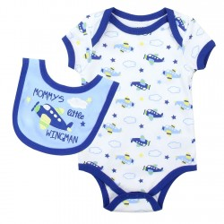 Weeplay Mommy's Little Wingman Onesie And Bib