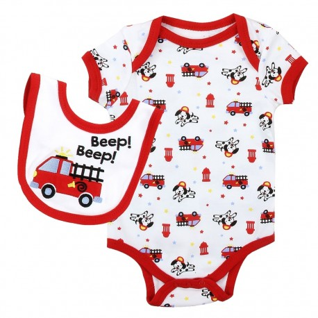 Weeplay Red Fire Truck On A White Onesie And Bib At Houston Kids Fashion Clothing