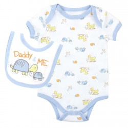 Weeplay Daddy and Me White Onesie And Bib With Turtles And Ducks