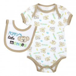Weeplay Mommy's Little Monkey White Onesie And Bib