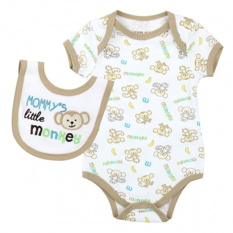 Weeplay Mommy's Little Monkey Onesie And Bib Set Houston Kids Fashion Clothing Store