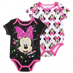 Disney Minnie Mouse Smile Black Onesie And White Onesie Set
