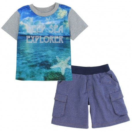 OK Apparel Deep Sea Explorer Grey Shirt With Blue Shorts At Houston Kids Fashion Clothing Store Short Set