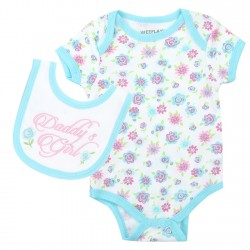Weeplay Daddy's Girl White Floral Print Onesie With Matching Bib