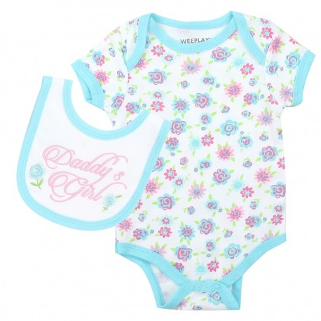 Weeplay Daddy's Girls Floral Print Onesie With Matching Bib Houston Kids Fashion Clothing Store