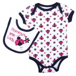 Weeplay Mommy's Little Lady White Ladybug Onesie And Bib Houston Kids Fashion Clothing Baby Clothes