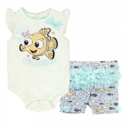 Disney Finding Nemo Mommy's Little Splasher Ivory Shirt And Grey Shorts