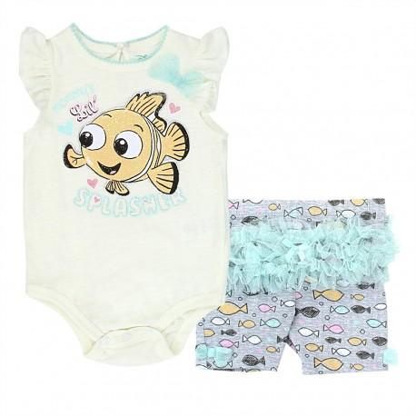 Disney Finding Nemo Mommy's Little Splasher Ivory Shirt And Grey Shorts At Houston Kids Fashion Clothing