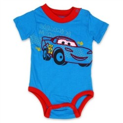 Disney Pixar Lightning McQueen Blue Bodysuit With Red Trim At Houston Kids Fashion Clothing