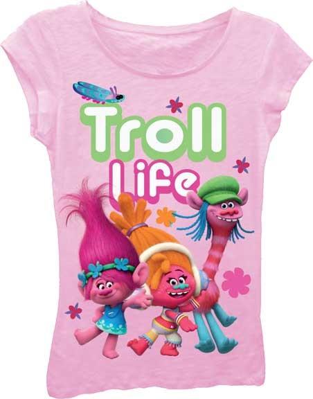 Dreamworks Trolls Pink Troll Life Girls Princess Tee