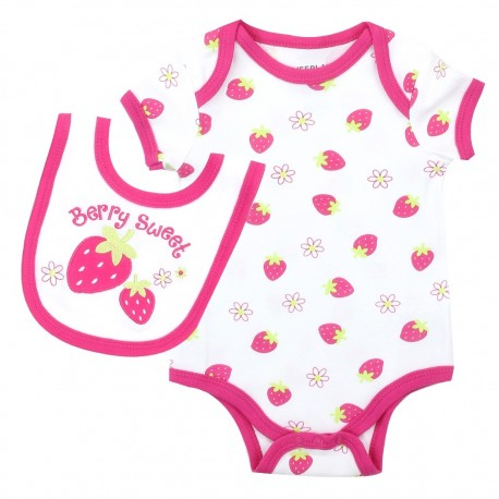 Weeplay Berry Sweet Strawberry Onesie And Berry Sweet Bib At Houston Kids Fashion Clothing