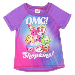 Shopkins OMG Shopkins! Sublimated Pink And Purple Girls Shirt