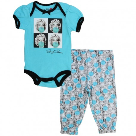 Born Glamorous Marilyn Monroe Blowing Bubbles Blue Onesie With Matching Pants Houston Kids Fashion Clothing