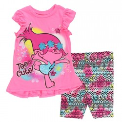 Dreamworks Trolls Pink Too Cute Toddler Hi Low Top With Biker Pants